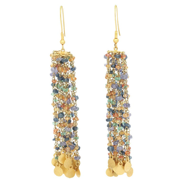 Tanzanite Sapphire Gold Beaded Chain Chandelier Earrings 1