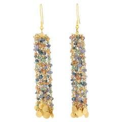 Tanzanite Sapphire Gold Beaded Chain Chandelier Earrings