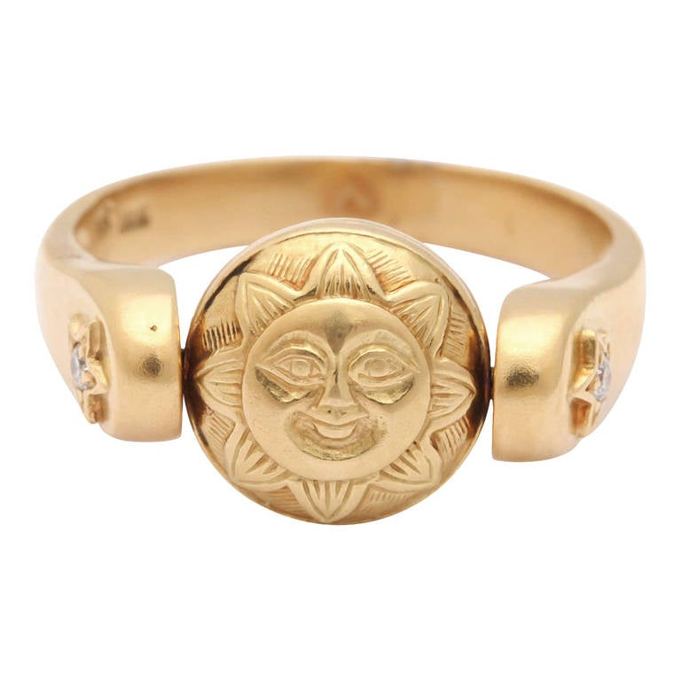 Gold Sun/Moon Swivel Ring 1