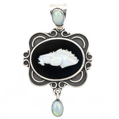 Black Onyx Silver Horsehead Pendant or Necklace