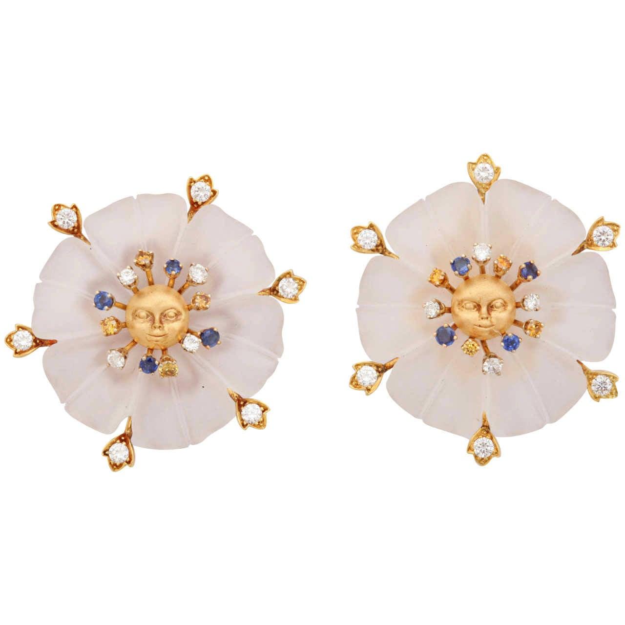 Crystal Diamond Gold Flower Earrings