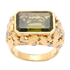 Eleven Carat Olivine Peridot Gold Platinum Ring