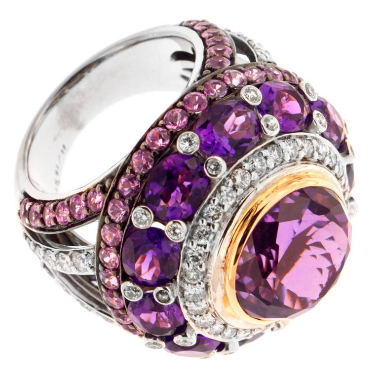 Zorab Amethyst Pink Sapphire Diamond Ring For Sale At 1stdibs