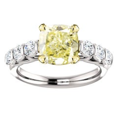 Hugo & Haan Gold GIA Certified Cushion Yellow Diamond Accented Engagement Ring