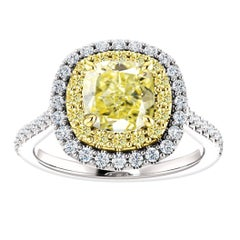 Hugo & Haan Gold GIA Certified Yellow Diamond Double Halo Engagement Ring