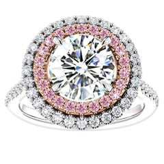 Hugo & Haan Platinum Gold Brilliant Diamond Pink Sapphire Engagement Ring