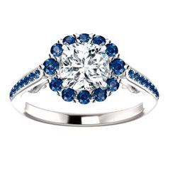 Hugo & Haan Gold GIA Certified Cushion Diamond Blue Sapphire Engagement Ring