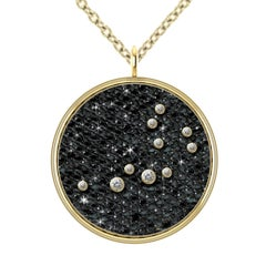 Hugo & Haan Gold Diamond Aquarius Zodiac Constellation Star Pendant Necklace