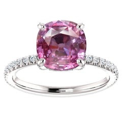 Hugo & Haan White Gold Cushion Cut Pink Sapphire Diamond Engagement Ring