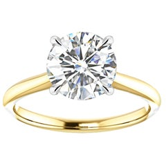Hugo & Haan Platinum Gold Brilliant Round Diamond Four-Claw Engagement Ring