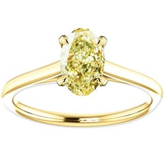 Hugo & Haan Gold GIA Certified Oval Fancy Yellow Diamond Engagement Ring