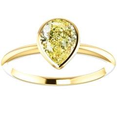 Hugo & Haan Gold GIA Certified Pear Yellow Diamond Bezel Engagement Ring