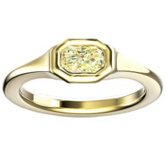 Hugo & Haan Gold GIA Certified 0.35 Carat Radiant Yellow Diamond Ring
