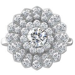 Hugo & Haan White Gold GIA Certified Diamond Pavé Flower Cocktail Ring