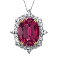 Hugo & Haan Platinum Gold Oval Pink Tourmaline Diamond Pendant