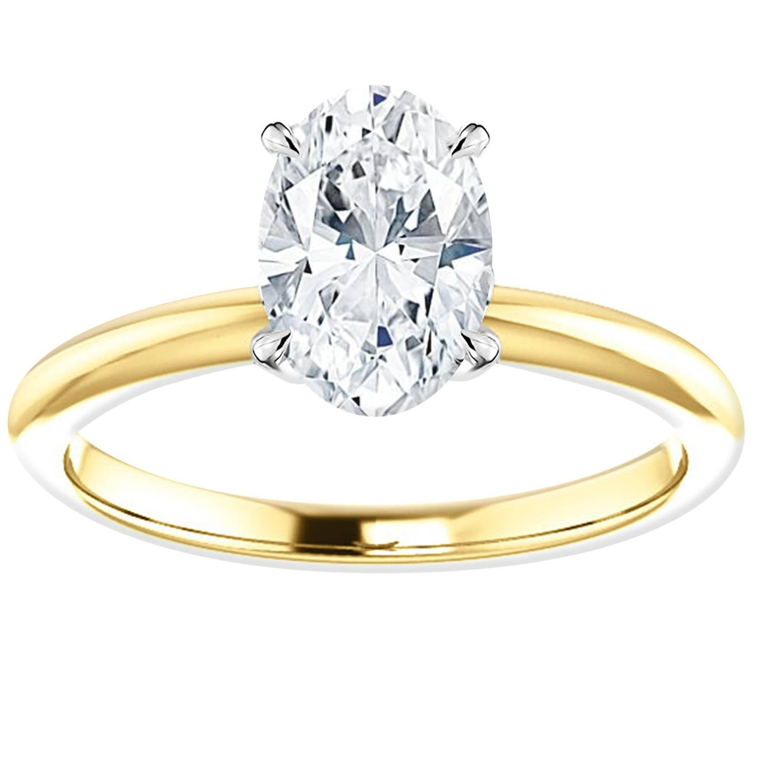 solitaire round cut diamond shank rings ring white gold engagement in with prong rounded