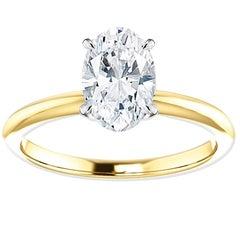 Hugo & Haan Platinum Gold 1.05 Carat Oval Diamond Solitaire Engagement Ring
