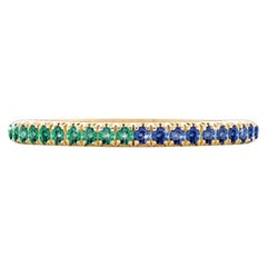 Hugo & Haan Yellow Gold Blue Sapphire Emerald Bicolor Ring