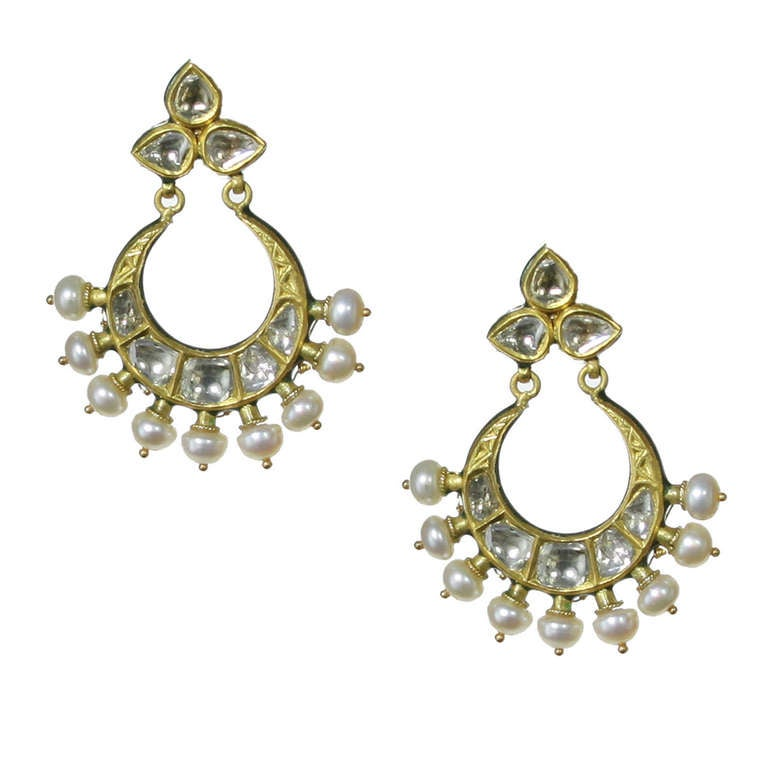 Mughal Style Indian Chand Bali Earrings with Enamel and Rose Cut ...