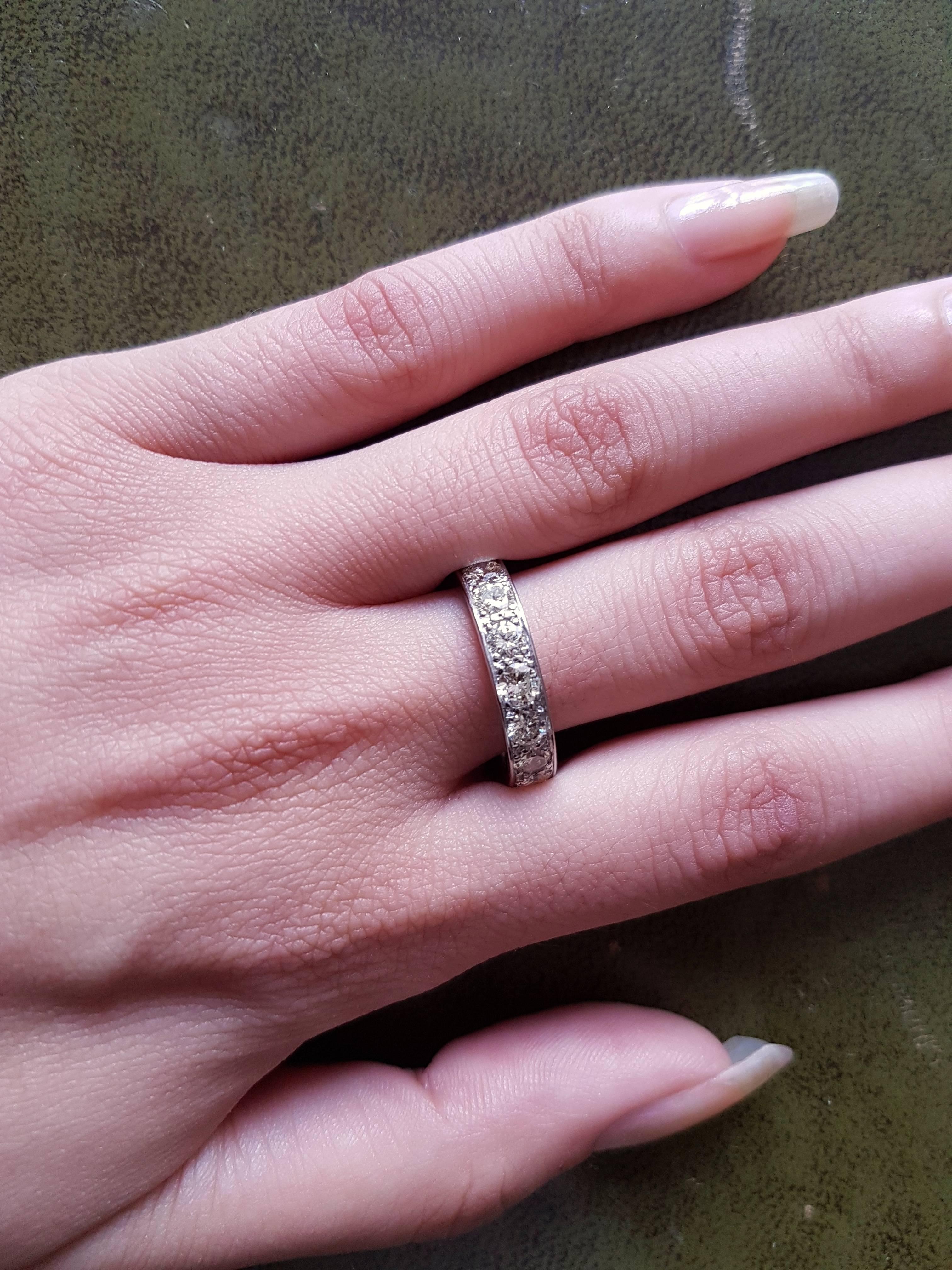 3.0 Carat Diamond Palladium Eternity Ring circa 1950 at 1stdibs