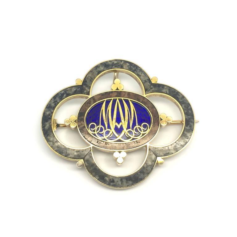 Victorian Scottish M. Rettie & Sons Granite Enamel Gold  Mourning Brooch 8