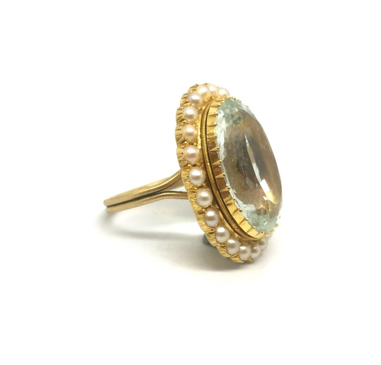 large antique aquamarine and pearl gold ring for sale at