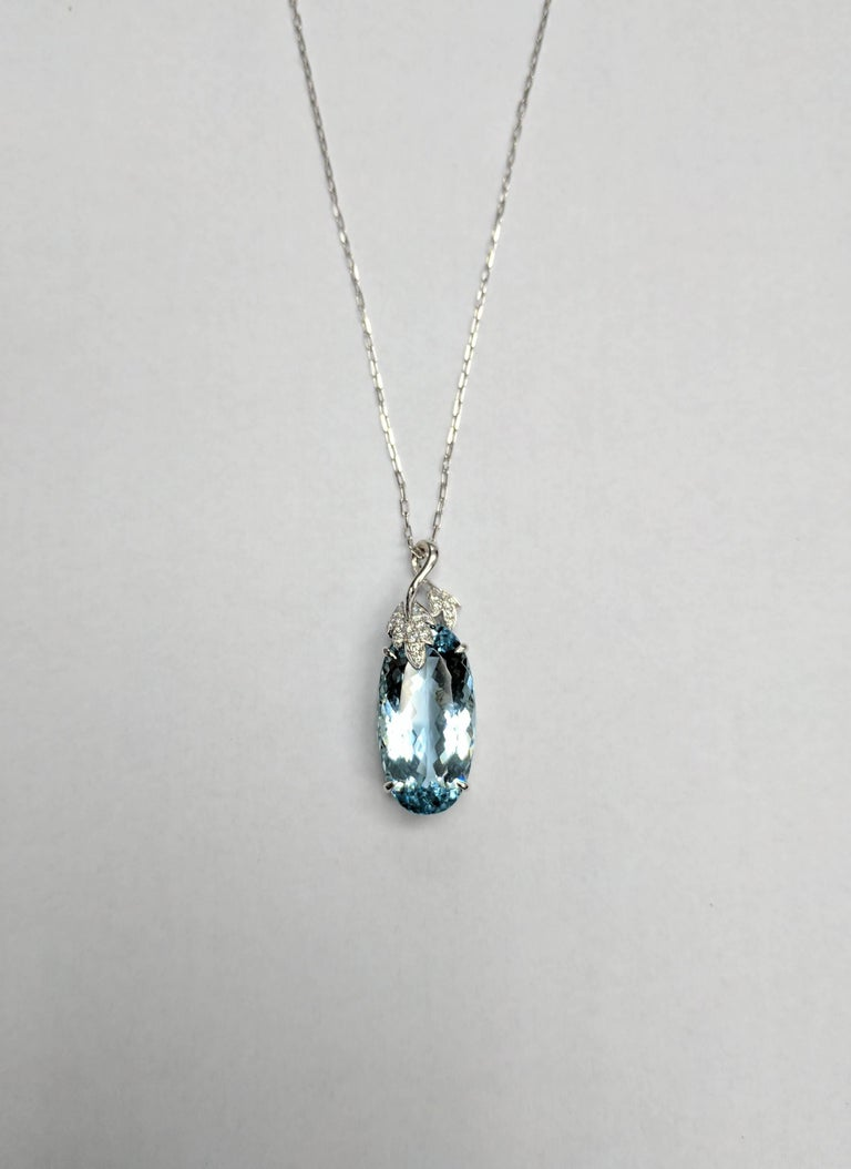 Frederic Sage 17.77 Carat Aquamarine Diamond Pendant with Chain 2