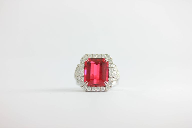 Contemporary Frederic Sage 10.19 Fine Rubellite Diamond White Gold One of a Kind Ring For Sale