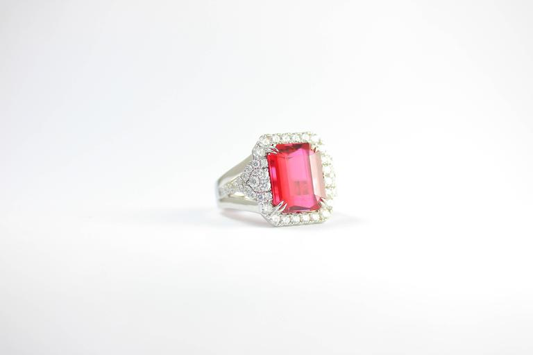 Frederic Sage 10.19 Fine Rubellite Diamond White Gold One of a Kind Ring In As New Condition For Sale In New York, NY