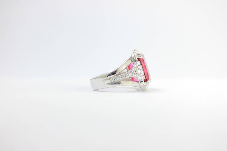 Women's or Men's Frederic Sage 10.19 Fine Rubellite Diamond White Gold One of a Kind Ring For Sale