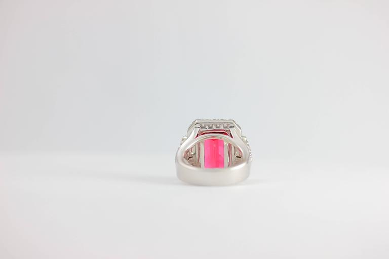 Frederic Sage 10.19 Fine Rubellite Diamond White Gold One of a Kind Ring For Sale 1