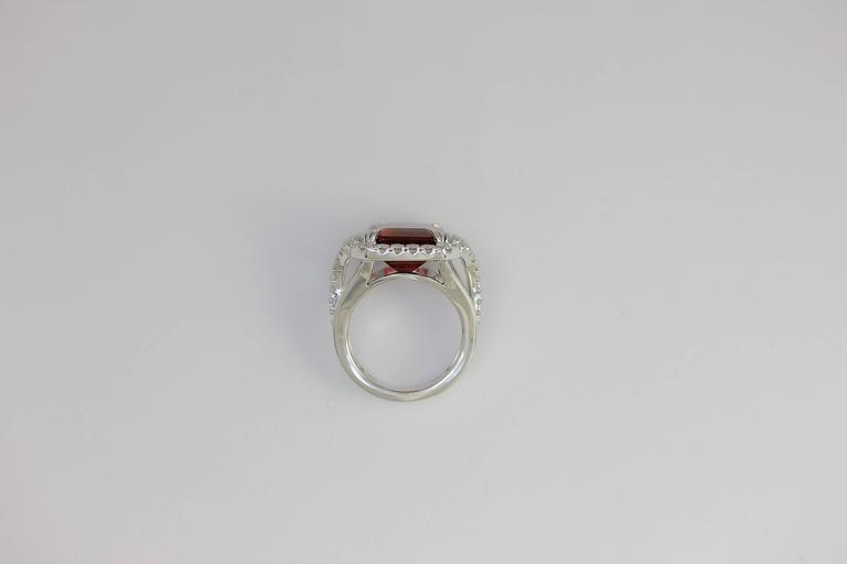 Frederic Sage 10.19 Fine Rubellite Diamond White Gold One of a Kind Ring For Sale 3