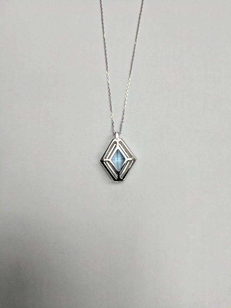 Frederic Sage 1.80 Carat Aquamarine Diamond Pendant Necklace 3