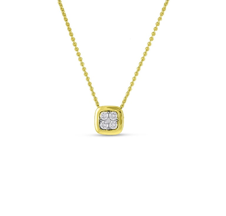 14K YWG MINI FIRENZE CU 5 DIAMONDS INSIDE YG POLISHED BEZEL PENDANT WITH CHAIN 5 DIA 0.19 CT Pendant, approx. 7 MM