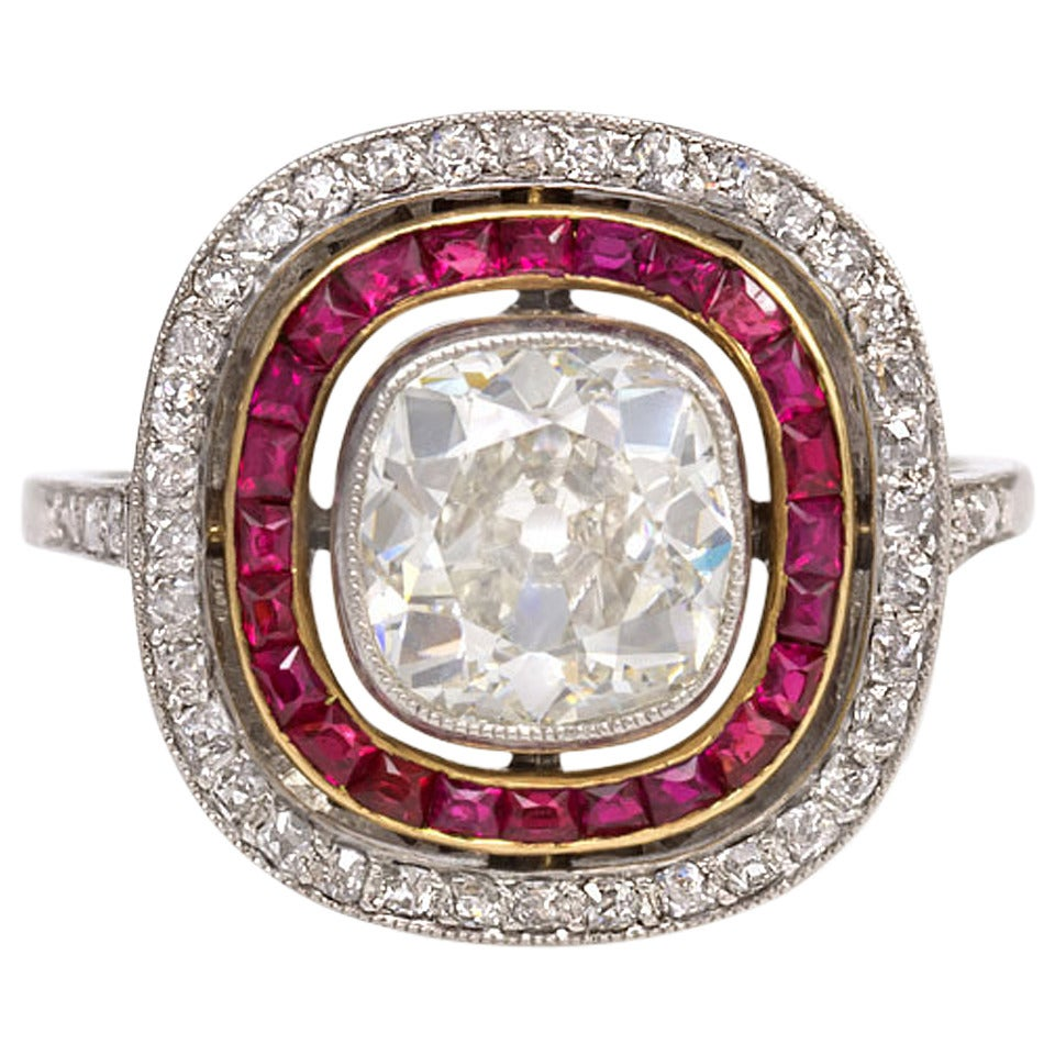 French Art Deco Ruby Diamond Ring At 1stdibs
