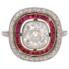 French Art Deco Ruby Diamond Ring of Cluster Design