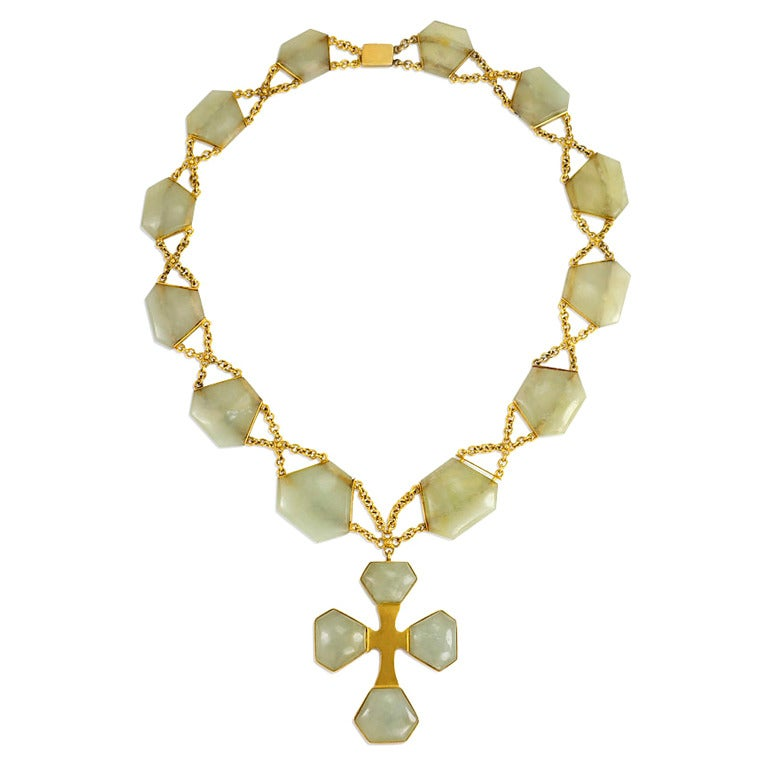 antique serpentine gold necklace with cross pendant at 1stdibs