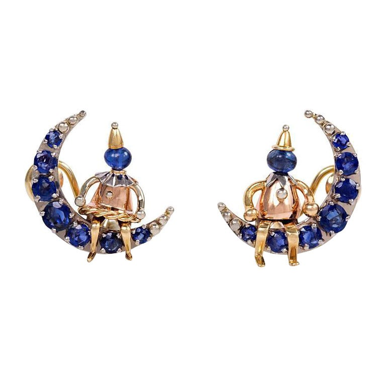 1940s Sapphire Gold Earrings Of Pierrots On The Moon At