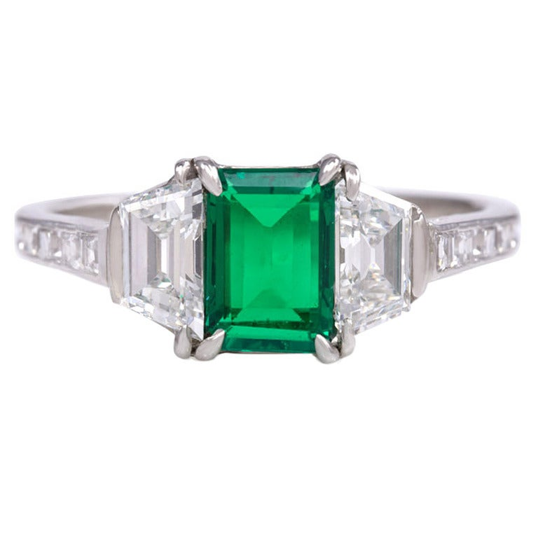 Tiffany And Co Art Deco Emerald Diamond Platinum Ring At