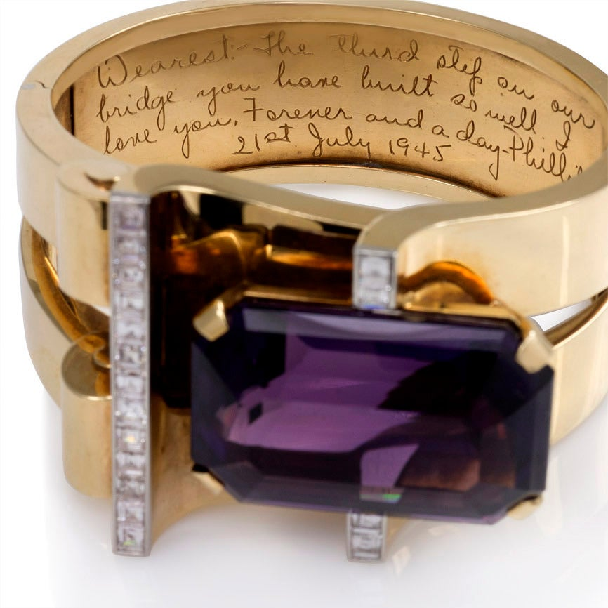 Women's 1940s Amethyst Diamond Gold Bangle Bracelet from Joan Crawford's Estate For Sale