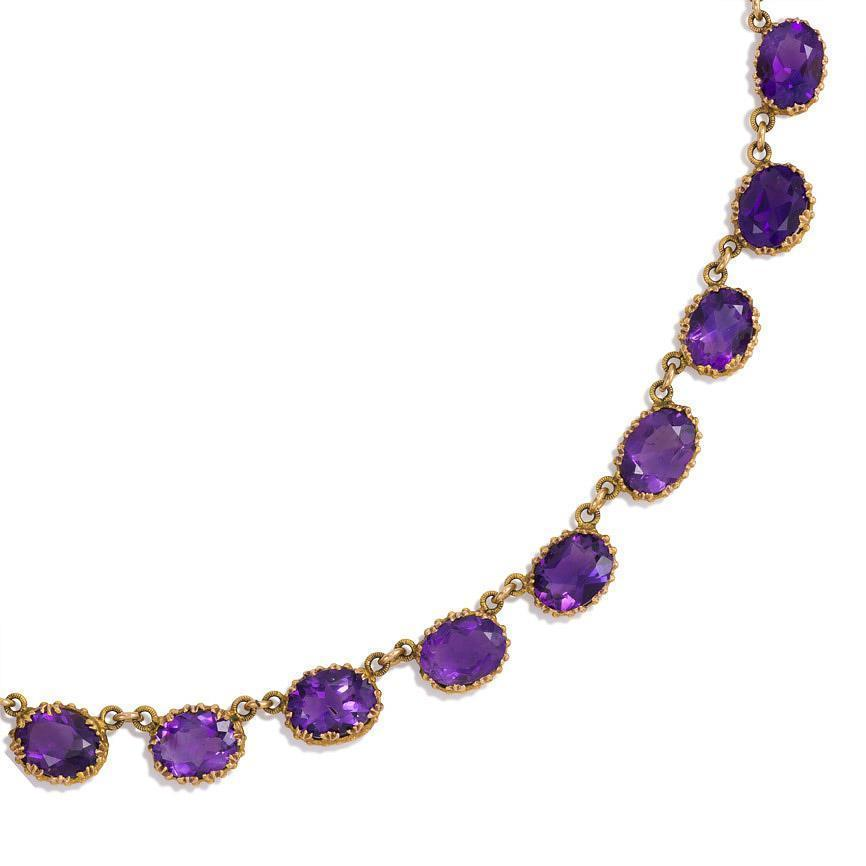 antique amethyst gold necklace at 1stdibs