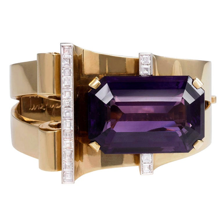 1940s Amethyst Diamond Gold Bangle Bracelet from Joan Crawford's Estate For Sale