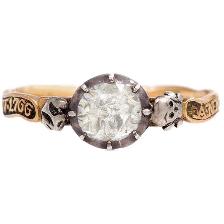 18th Century Diamond Silver Gold Memento Mori Ring For Sale