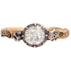 18th Century Diamond Silver Gold Memento Mori Ring