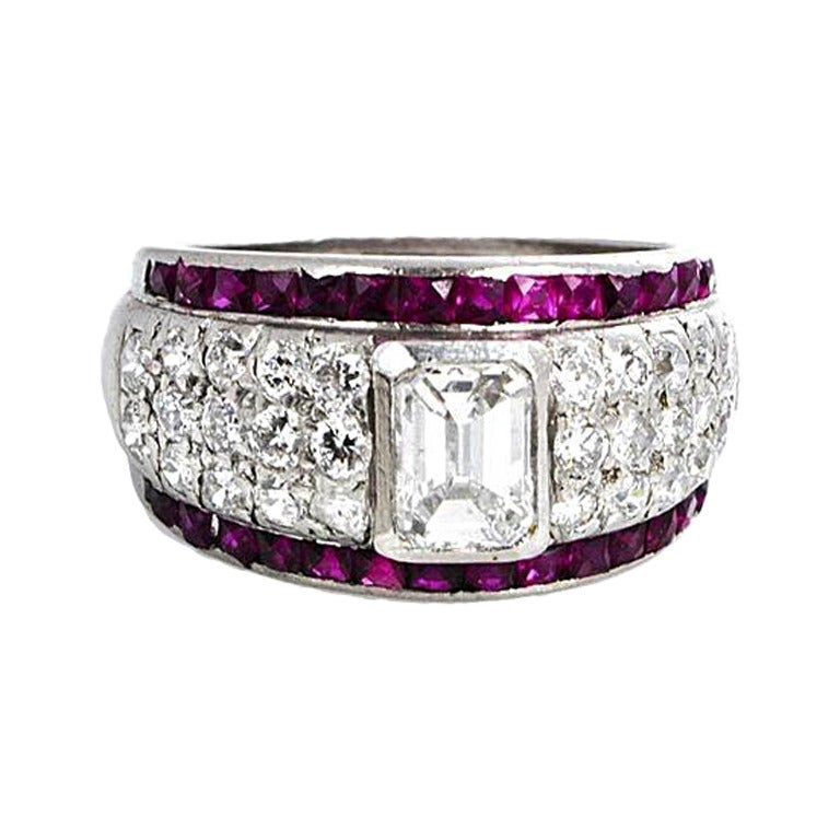 Art Deco Ruby Diamond Platinum Ring At 1stdibs