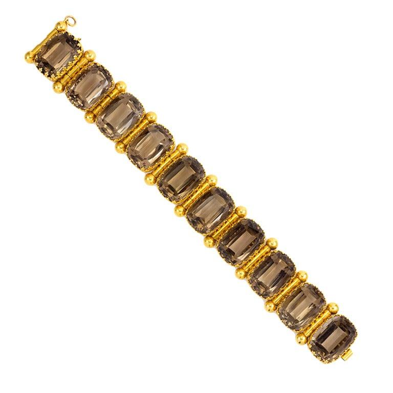 Antique English Smoky Topaz Gold Bracelet At 1stdibs