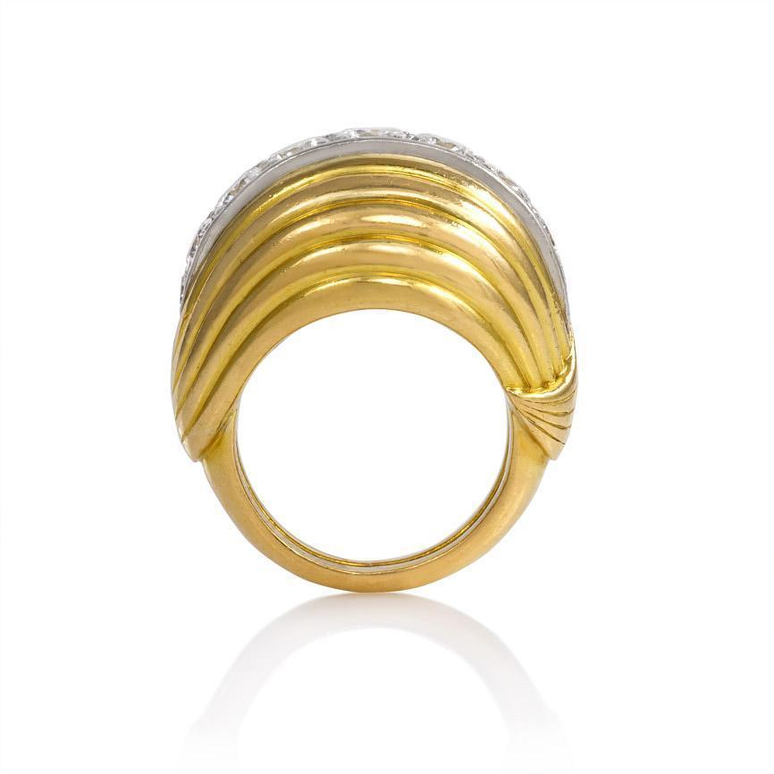 1940s Cartier Diamond Gold Bombe Ring Image 3