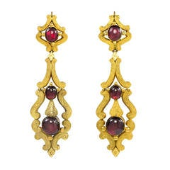 French Antique Coral And Gold Earrings At 1stdibs
