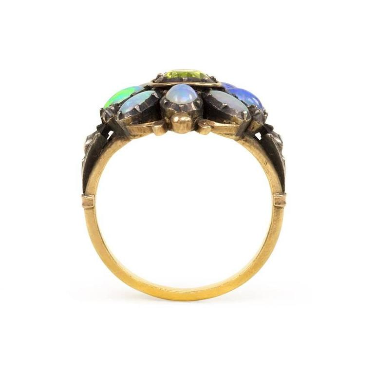 1940s Portuguese Opal Peridot Silver Gold Cluster Ring 3