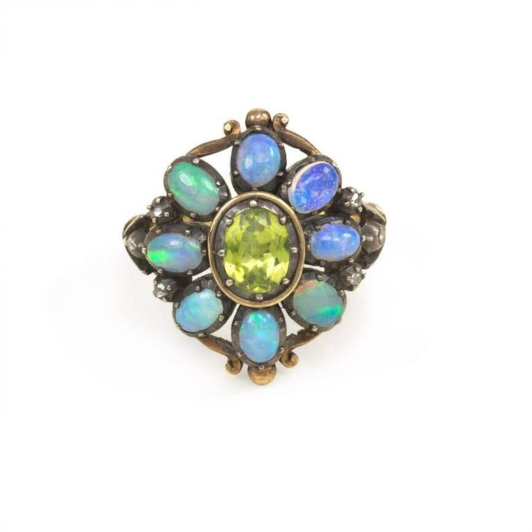 1940s Portuguese Opal Peridot Silver Gold Cluster Ring 2